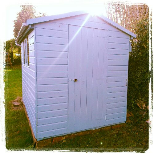 Painted blue shed