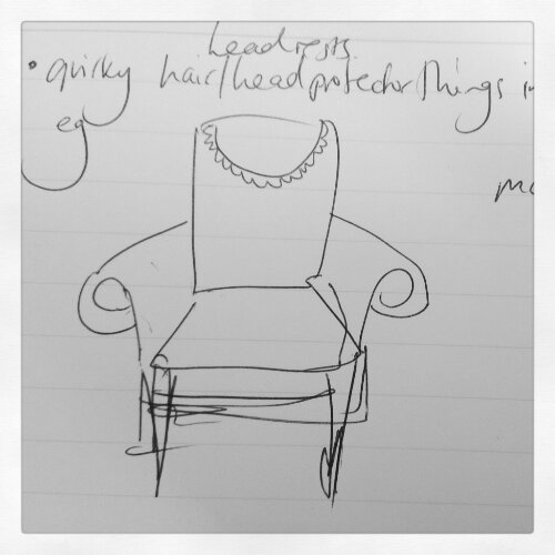 Upholstery sketch 2: quirky wingback chair