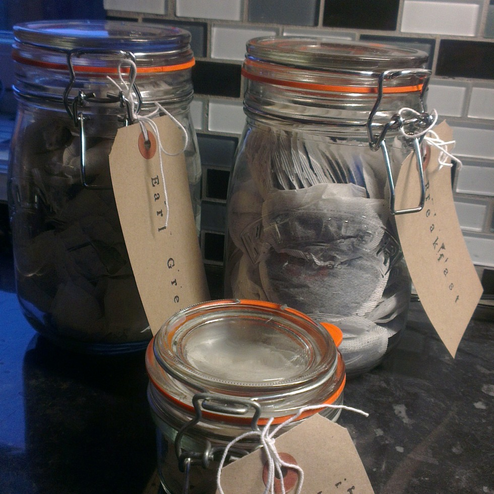 Kilner jar with brown package labels
