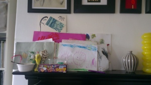 Messy mantelpiece