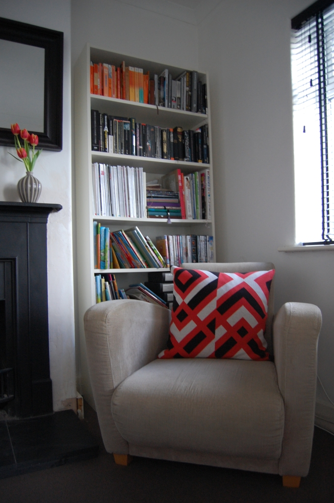 Bookcases , armchair and cushion