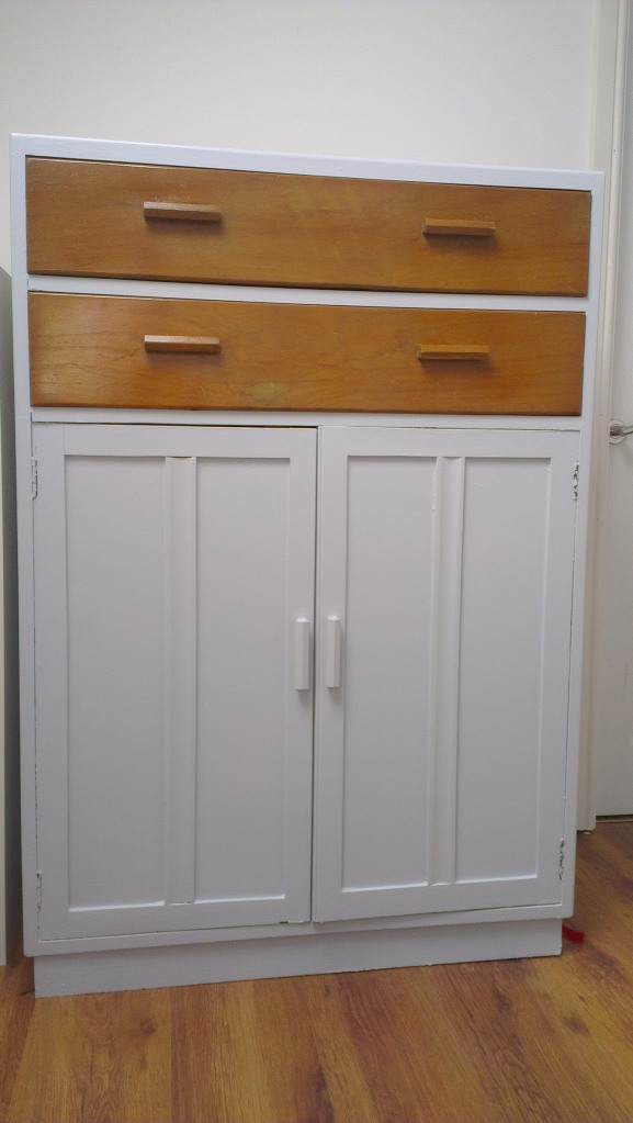 Painted 1930s cupboard in progress