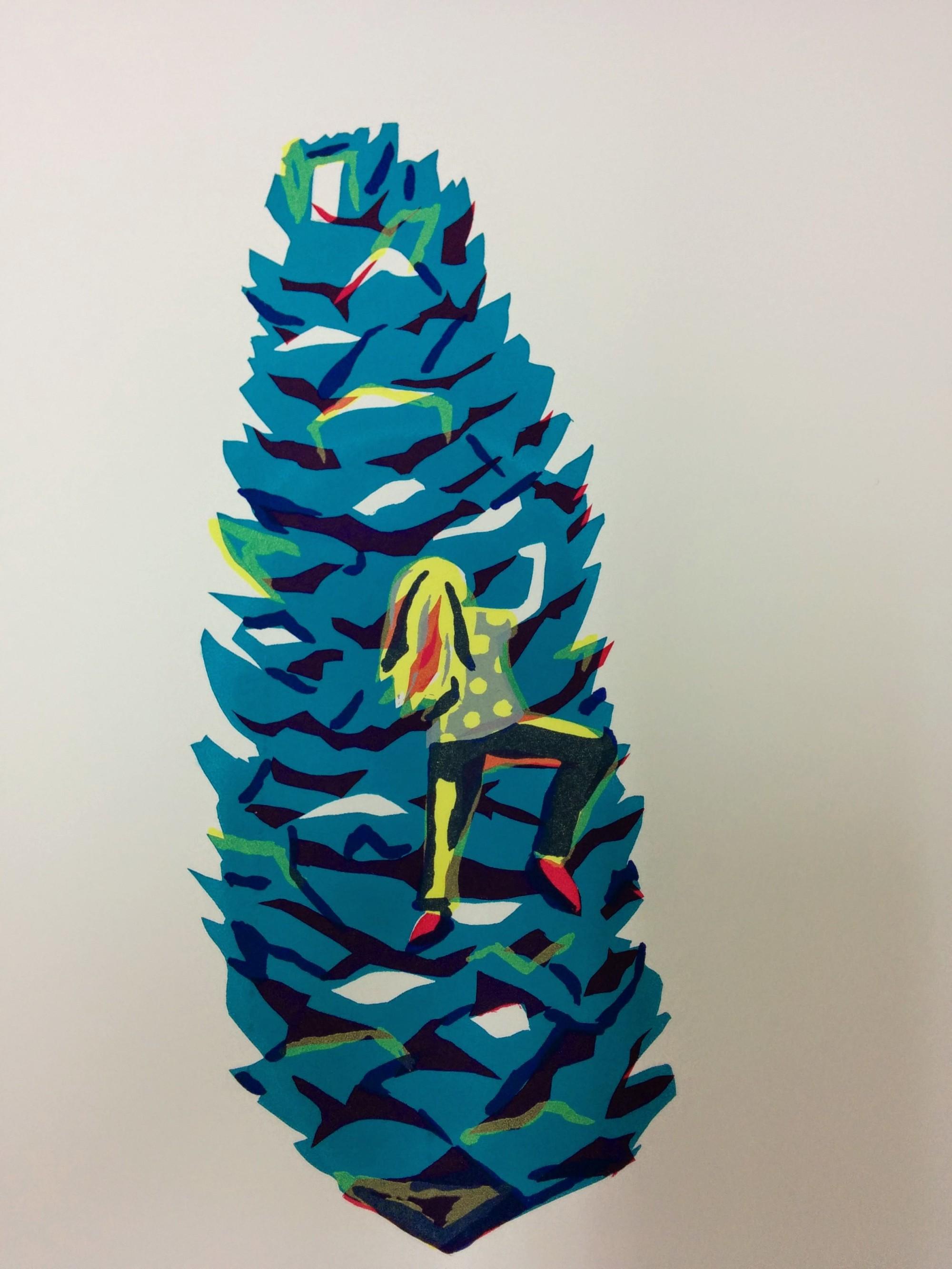 Hand pulled silk screen print of girl climbing a fir cone by Joanne Mass