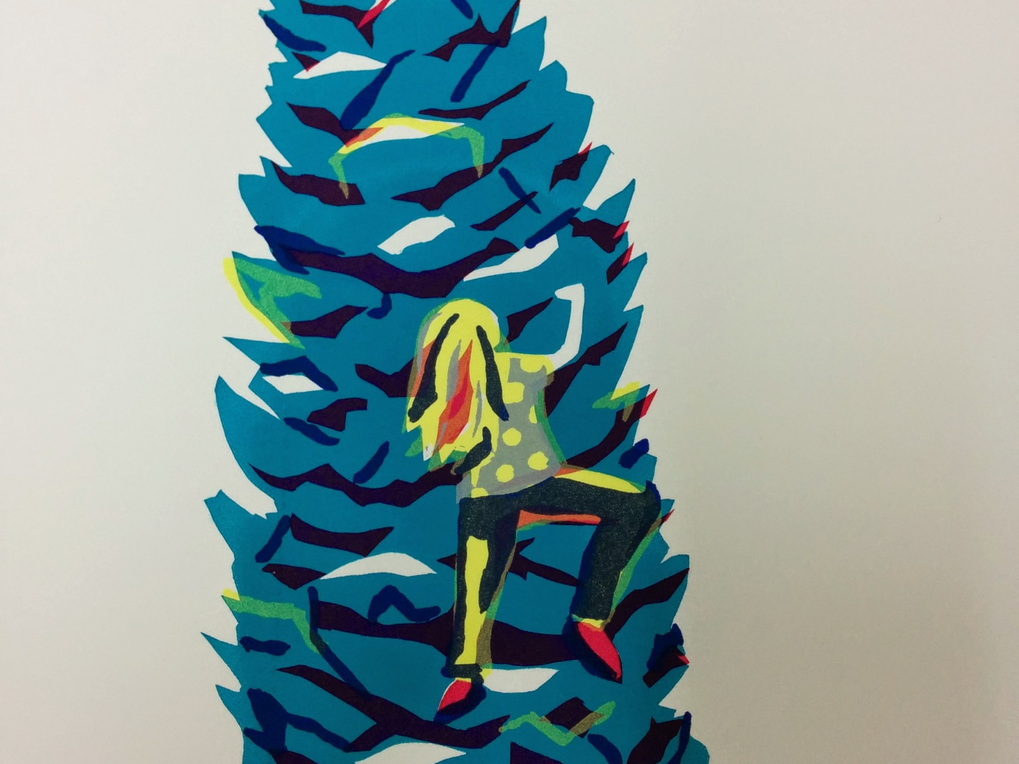 Hand pulled silk screen print of girl climbing a fir cone by Joanne Mass