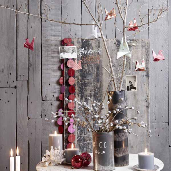 Modern Scandinavian red, white and grey Christmas