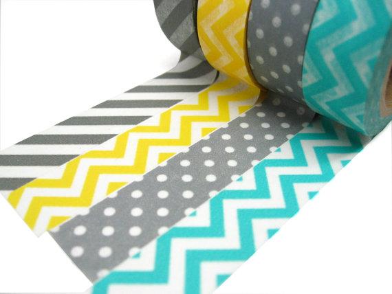 Stripes, chevrons and spots washi tape Christmas