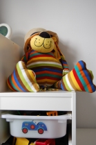 Stripey lion on top of Ikea Trofast children's storage