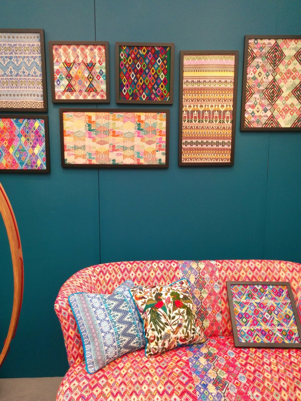 Hand-woven fabrics in frames and on furniture