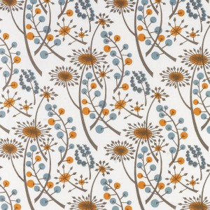 Hedgerow (orange/blue) fabric by Angie Lewin at St Jude's