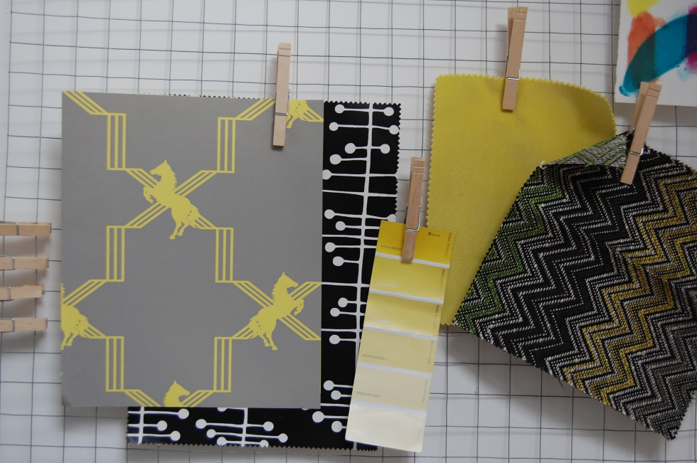 Wire and pegs ideas/notice board with wallpaper and fabric swatches
