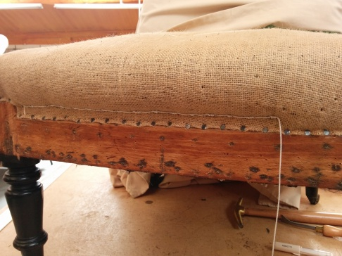 Stitching in traditional upholstery